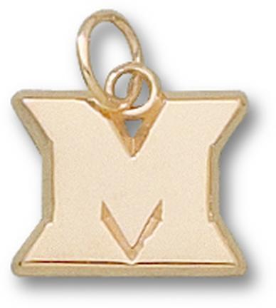 """Miami (Ohio) RedHawks New """"M"""" 3/8"""" Charm - 10KT Gold Jewelry"""