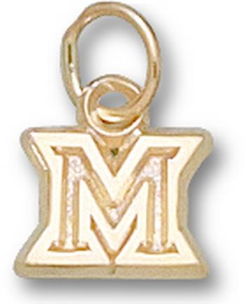 """Miami (Ohio) RedHawks New Outlined """"M"""" 1/4"""" Charm - 14KT Gold Jewelry"""