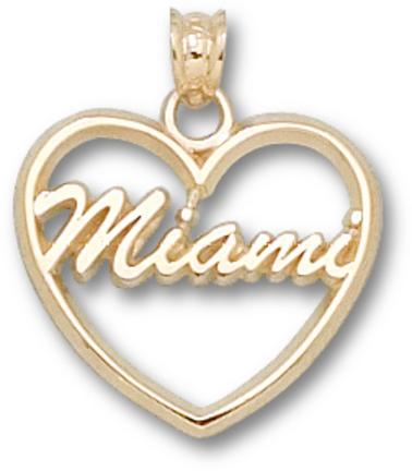 """Miami (Ohio) RedHawks Script """"Miami Heart"""" Pendant - 10KT Gold Jewelry"""
