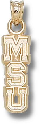 "Michigan State Spartans 5/8"" Vertical ""MSU"" Pendant - 10KT Gold Jewelry"