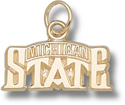 "Michigan State Spartans ""Bridge Design Logo"" 5/16"" Charm - 10KT Gold Jewelry"
