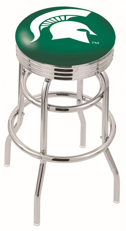 "Michigan State Spartans (L7C3C) 25"" Tall Logo Bar Stool by Holland Bar Stool Company (with Double Ring Swivel Chrome Base)"