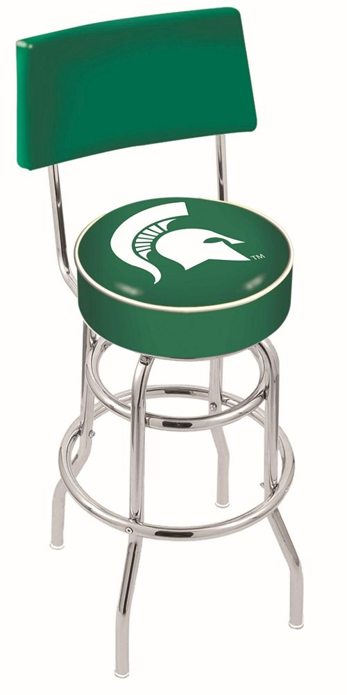 "Michigan State Spartans (L7C4) 25"" Tall Logo Bar Stool by Holland Bar Stool Company (with Double Ring Swivel Chrome Base and Chair Seat Back)"
