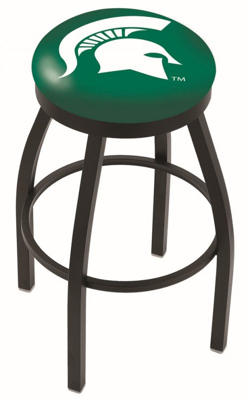 "Michigan State Spartans (L8B2B) 30"" Tall Logo Bar Stool by Holland Bar Stool Company (with Single Ring Swivel Black Solid Welded Base)"