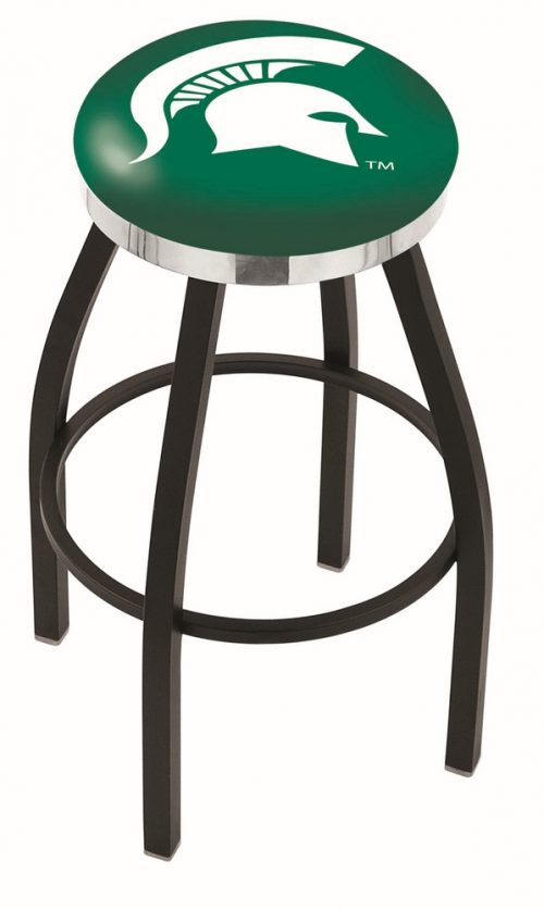 "Michigan State Spartans (L8B2C) 25"" Tall Logo Bar Stool by Holland Bar Stool Company (with Single Ring Swivel Black Solid Welded Base)"