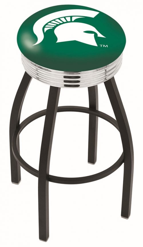 "Michigan State Spartans (L8B3C) 25"" Tall Logo Bar Stool by Holland Bar Stool Company (with Single Ring Swivel Black Solid Welded Base)"