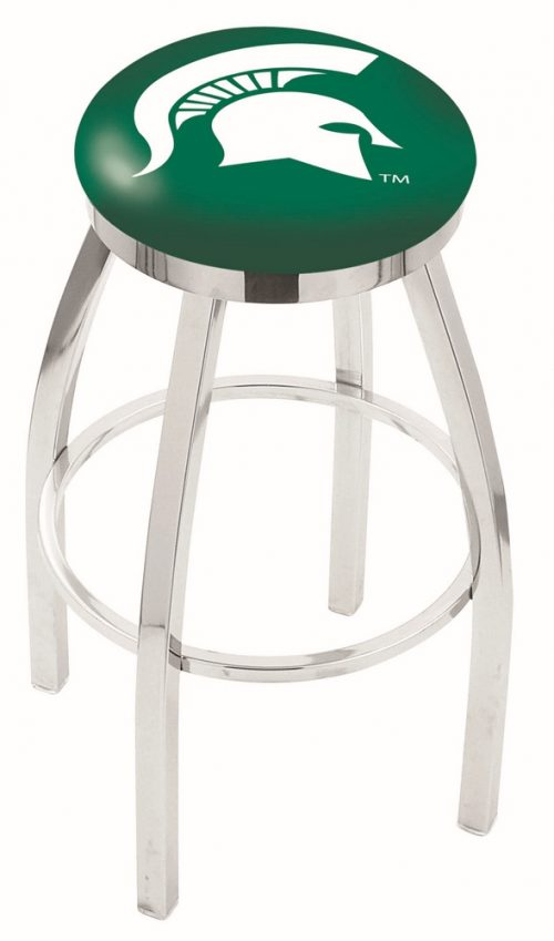 "Michigan State Spartans (L8C2C) 30"" Tall Logo Bar Stool by Holland Bar Stool Company (with Single Ring Swivel Chrome Solid Welded Base)"