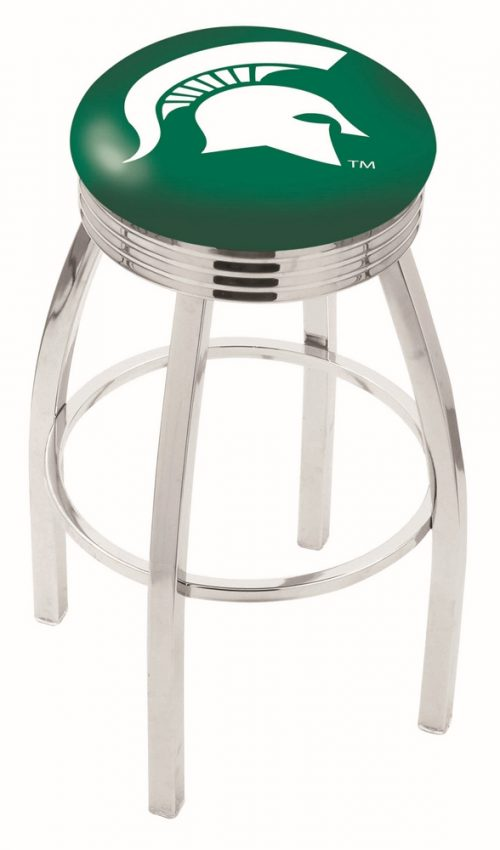 "Michigan State Spartans (L8C3C) 30"" Tall Logo Bar Stool by Holland Bar Stool Company (with Single Ring Swivel Chrome Solid Welded Base)"