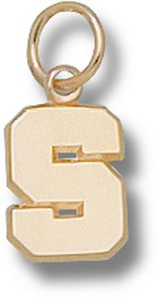 "Michigan State Spartans Polished ""S"" 3/8"" Charm - 14KT Gold Jewelry"