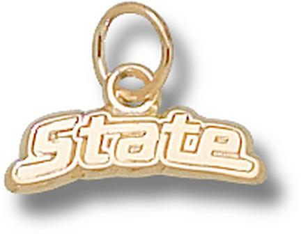 "Michigan State Spartans ""State"" 3/16"" Charm - 14KT Gold Jewelry"