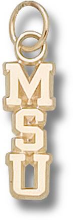"Michigan State Spartans Vertical ""MSU"" Polished Charm - 14KT Gold Jewelry"