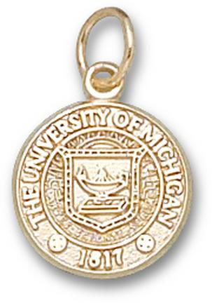 """Michigan Wolverines 1/2"""" """"Seal"""" Charm - 10KT Gold Jewelry"""