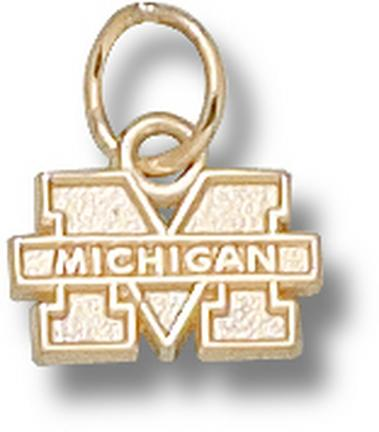 "Michigan Wolverines 1/4"" ""M Michigan"" Charm - 14KT Gold Jewelry"