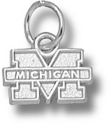 "Michigan Wolverines 1/4"" ""M Michigan"" Charm - 14KT White Gold Jewelry"