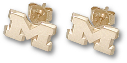 "Michigan Wolverines 1/4"" ""M"" Post Earrings - 10KT Gold Jewelry"