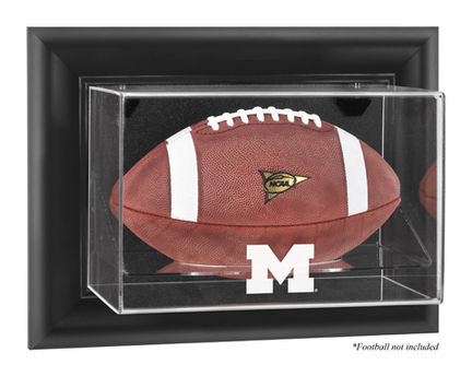 Michigan Wolverines Black Framed Wall Mountable Logo Football Display Case