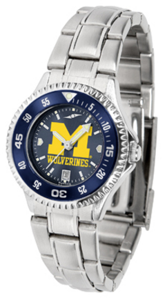 Michigan Wolverines Competitor AnoChrome Ladies Watch with Steel Band and Colored Bezel