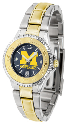 Michigan Wolverines Competitor AnoChrome Ladies Watch with Two-Tone Band