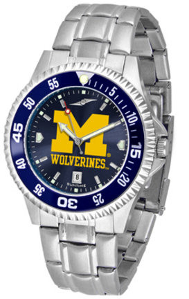 Michigan Wolverines Competitor AnoChrome Men's Watch with Steel Band and Colored Bezel