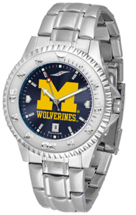 Michigan Wolverines Competitor AnoChrome Men's Watch with Steel Band