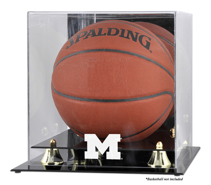 Michigan Wolverines Golden Classic Logo Basketball Display Case with Mirror Back