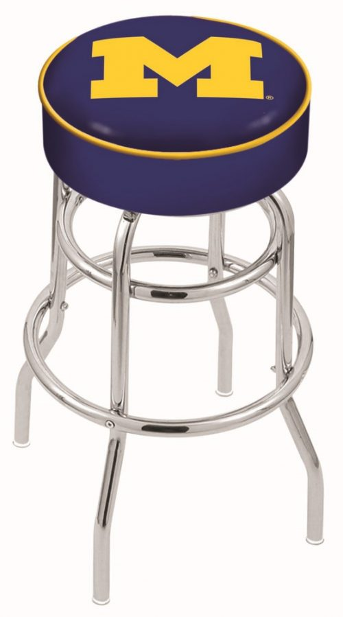 "Michigan Wolverines (L7C1) 25"" Tall Logo Bar Stool by Holland Bar Stool Company (with Double Ring Swivel Chrome Base)"