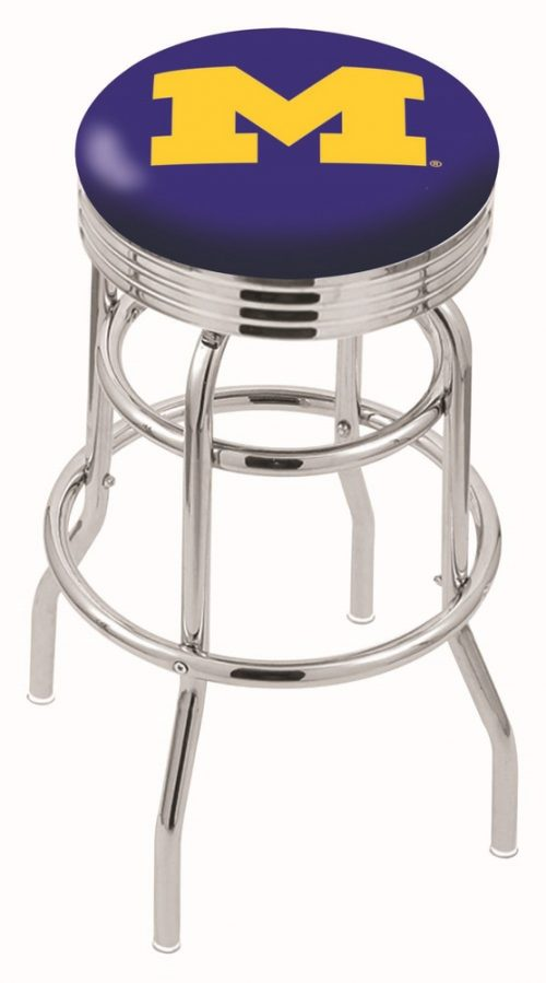 """Michigan Wolverines (L7C3C) 30"""" Tall Logo Bar Stool by Holland Bar Stool Company (with Double Ring Swivel Chrome Base)"""