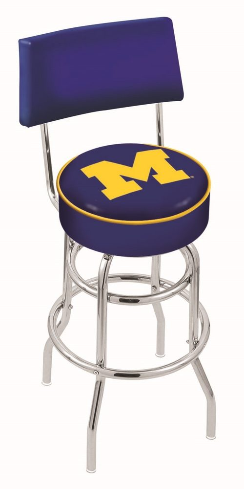 """Michigan Wolverines (L7C4) 25"""" Tall Logo Bar Stool by Holland Bar Stool Company (with Double Ring Swivel Chrome Base and Chair Seat Back)"""