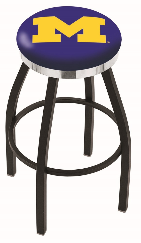 "Michigan Wolverines (L8B2C) 25"" Tall Logo Bar Stool by Holland Bar Stool Company (with Single Ring Swivel Black Solid Welded Base)"