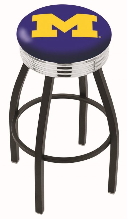 "Michigan Wolverines (L8B3C) 25"" Tall Logo Bar Stool by Holland Bar Stool Company (with Single Ring Swivel Black Solid Welded Base)"