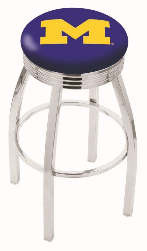"""Michigan Wolverines (L8C3C) 25"""" Tall Logo Bar Stool by Holland Bar Stool Company (with Single Ring Swivel Chrome Solid Welded Base)"""