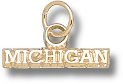 "Michigan Wolverines ""Michigan"" Charm - 14KT Gold Jewelry"