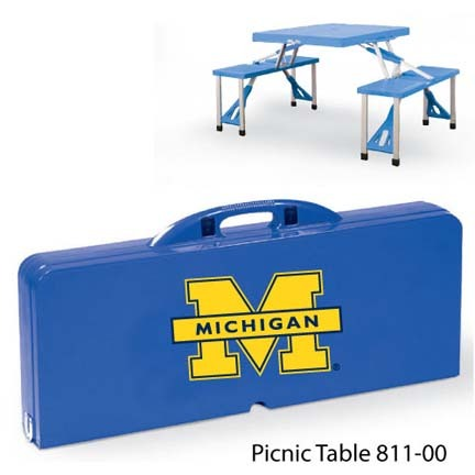 Michigan Wolverines Portable Folding Table and Seats