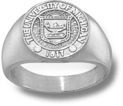 """Michigan Wolverines """"Seal"""" 1/2"""" Ladies' Ring Size 6 1/2 - Sterling Silver Jewelry"""