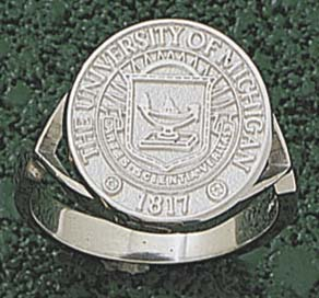 """Michigan Wolverines """"Seal"""" Men's Ring Size 10 1/2 - Sterling Silver Jewelry"""