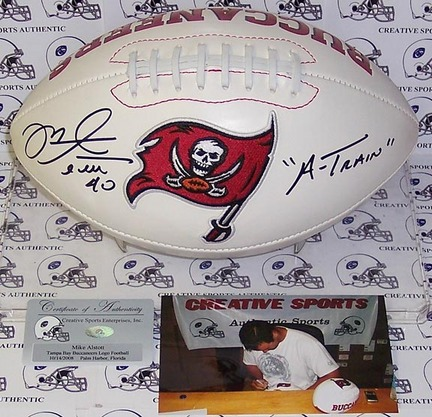 "Mike Alstott Autographed Tampa Bay Buccaneers Logo Football with ""A-Train"" Inscription"