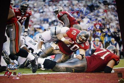 "Mike Alstott Autographed Tampa Bay Bucs 16"" x 20"" Photograph with ""Super Bowl 37 Champs"" Inscription (Unframed)"