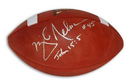 "Mike Nelms Autographed Official NCAA College Football Inscribed with ""John 15:5"