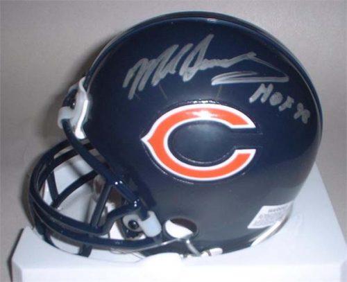 "Mike Singletary Autographed Chicago Bears Riddell Mini Helmet with ""HOF 98"" Inscription"