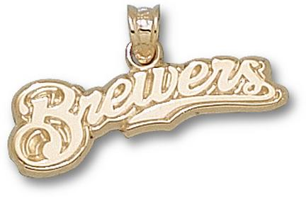 "Milwaukee Brewers 3/8"" ""Brewers"" Pendant - 10KT Gold Jewelry"