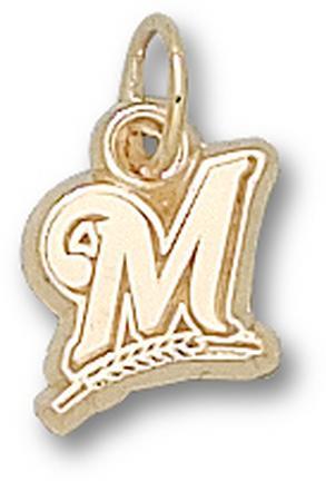 "Milwaukee Brewers ""M"" 3/8"" Charm - 14KT Gold Jewelry"