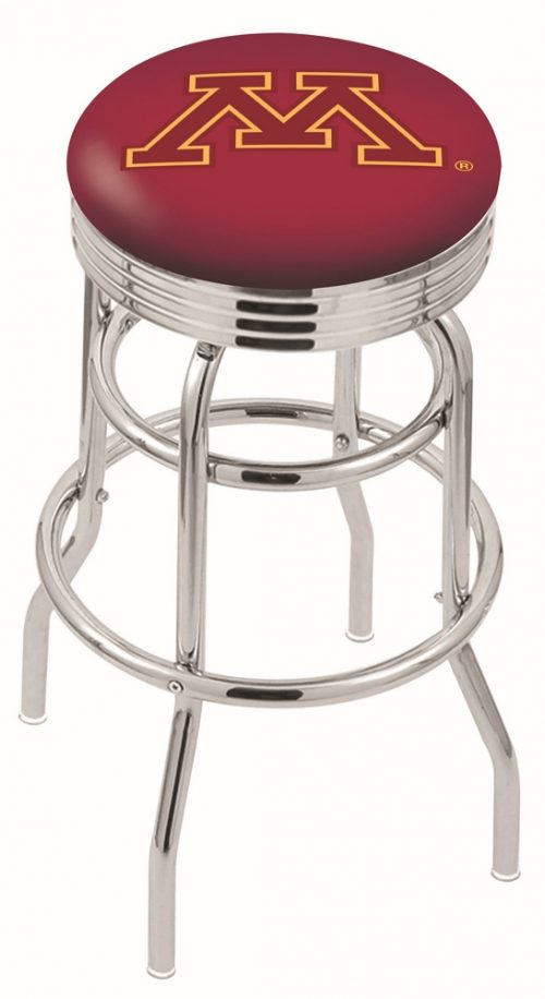 """Minnesota Golden Gophers (L7C3C) 25"""" Tall Logo Bar Stool by Holland Bar Stool Company (with Double Ring Swivel Chrome Base)"""