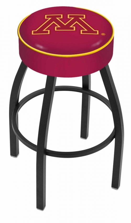 """Minnesota Golden Gophers (L8B1) 25"""" Tall Logo Bar Stool by Holland Bar Stool Company (with Single Ring Swivel Black Solid Welded Base)"""