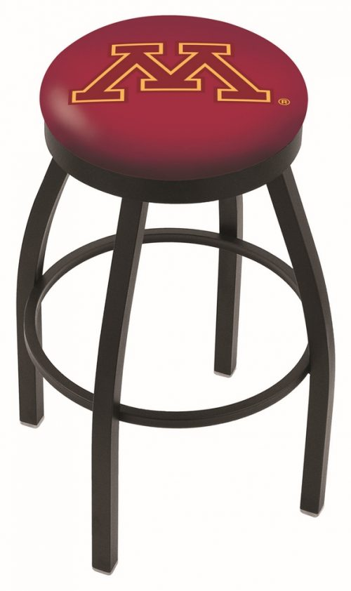 "Minnesota Golden Gophers (L8B2B) 25"" Tall Logo Bar Stool by Holland Bar Stool Company (with Single Ring Swivel Black Solid Welded Base)"