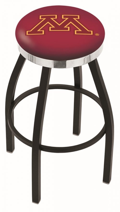 """Minnesota Golden Gophers (L8B2C) 25"""" Tall Logo Bar Stool by Holland Bar Stool Company (with Single Ring Swivel Black Solid Welded Base)"""