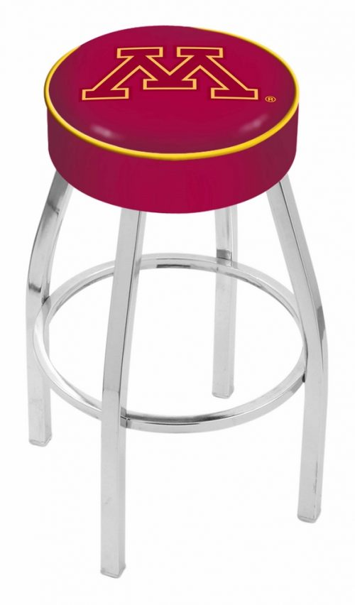 "Minnesota Golden Gophers (L8C1) 25"" Tall Logo Bar Stool by Holland Bar Stool Company (with Single Ring Swivel Chrome Solid Welded Base)"