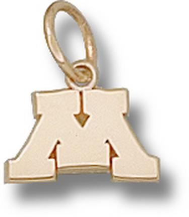 "Minnesota Golden Gophers ""M"" 3/8"" Charm - 14KT Gold Jewelry"