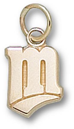 """Minnesota Twins """"M"""" 7/16"""" Charm - 10KT Gold Jewelry"""