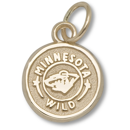 "Minnesota Wild 3/8"" Circle Logo Charm - 10KT Gold Jewelry"