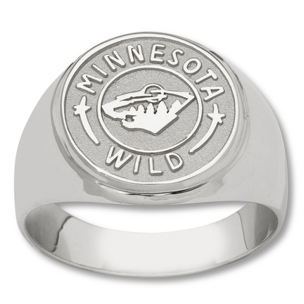 "Minnesota Wild 5/8"" Circle Logo Men's Ring - Sterling Silver Jewelry (Size 10 1/2)"